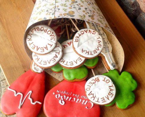 подарочный набор врачу или медицинскому работнику из имбирных пряников - топеров от Пряничного Ателье